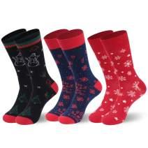 Cartoon Christmas Socks, Atrest Holiday Cotton Novelty Xmas Socks Adult Kid 1-6 Pairs