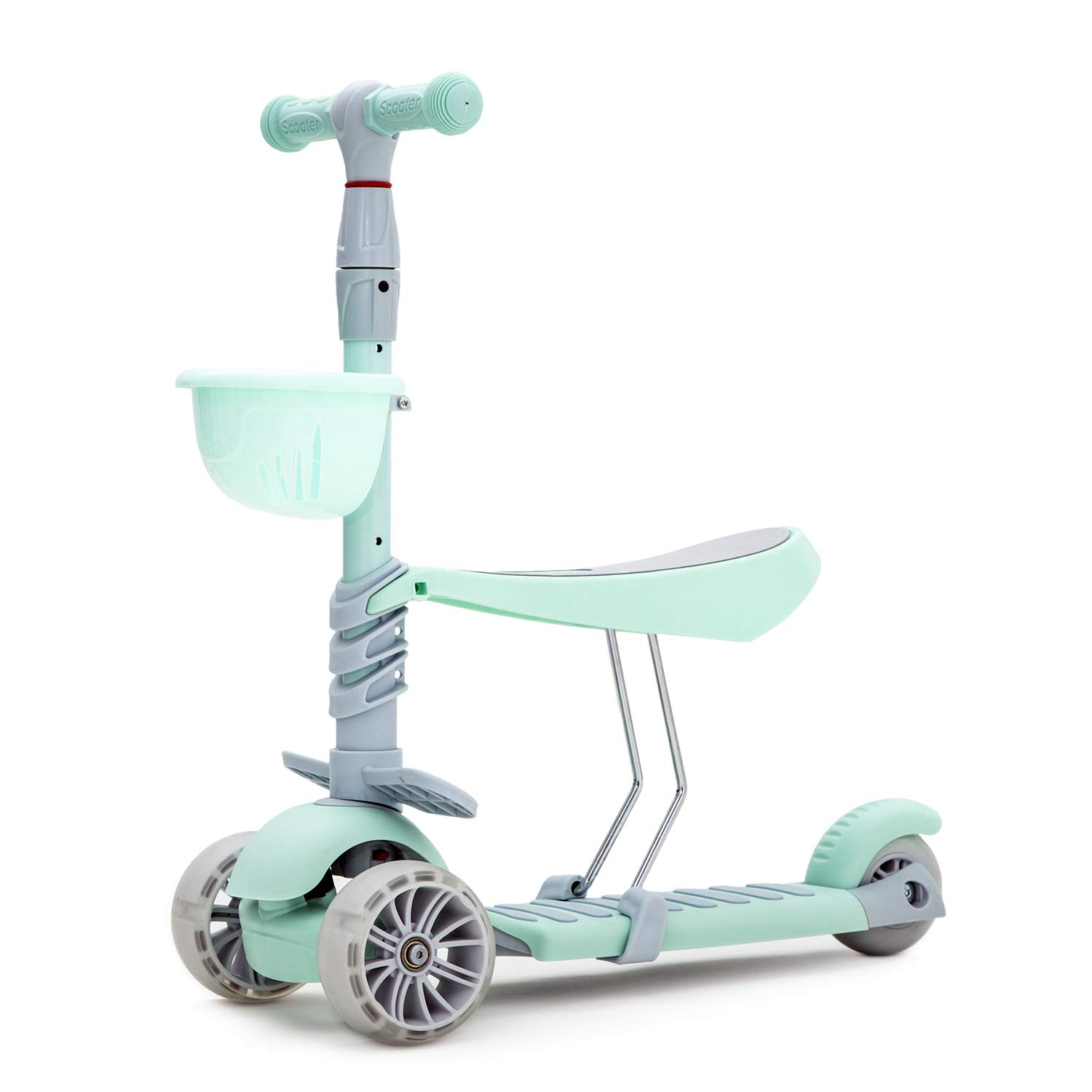 KAMURES 2-in-1 | 3 Wheels Kick Scooter with Removable Seat for Kids & Toddlers, 5 Adjustable Height Kids Scooter with Extra-Wide PU Flashing Wheels, Best Gift for Boys Girls Age Over 3 Years Old(3-8)
