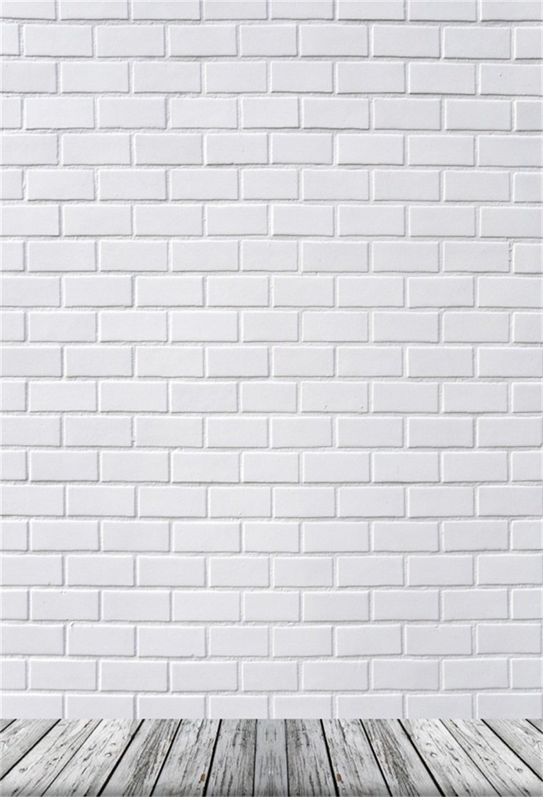 AOFOTO 6x8ft White Brick Wall Photography Background Old Wooden Floor Backdrop Adult Kid Boy Girl Baby Man Woman Artistic Portrait Photoshoot Studio Props Video Drape Wallpaper