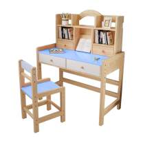 Nawenjuyu Wooden Height Adjustable Kids Desk and Chair Set, with Drawers and Bookshelves, Children Study Computer Workstation, Kids Study Table and Chair Set