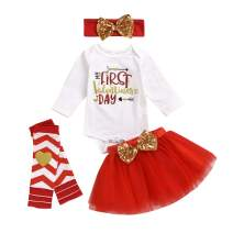 SEVEN YOUNG Baby Girl My First Valentine's Day Outfit Letter Romper+Tutu Skirt+ Leg Warmers+Headband