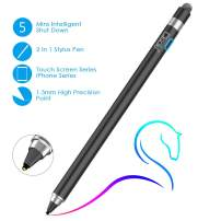 Ciscle Active Stylus Pen, 2 in 1 Digital Pencil with 1.5 mm High-Precision Copper Tip and Mesh Tip, Fine Point Stylus Compatible for iPad, iPhone, Android Tablet and Other Touch Screen Devices-Black