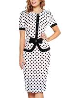 Fantaist Women's Short Sleeve Bowknot Button Patchwork Business Sheath Dress