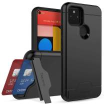 Teelevo Wallet Case for Google Pixel 5, Dual Layer Case with Card Slot Holder and Kickstand for Google Pixel 5 - Black