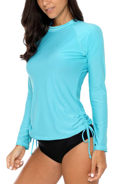 Vegatos Women Long Sleeve Rash Guard UPF 50+ Swim Shirt Athletic Swimsuit Tops