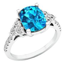 Dazzlingrock Collection 9X7 MM Cushion Gemstone, Round White Sapphire & Diamond Bridal Engagement Ring, Sterling Silver
