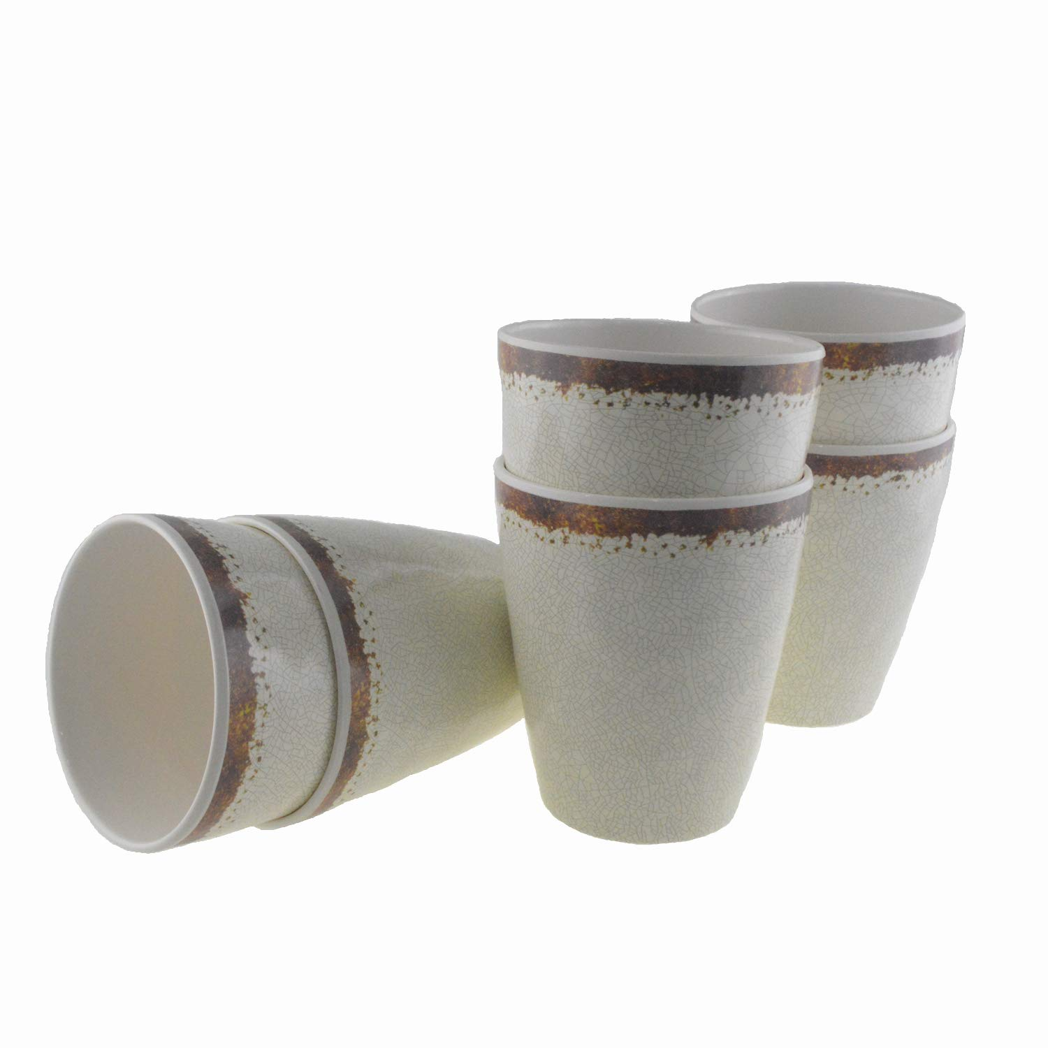 Melamine 6 Pcs Rustic Cups for Indoor Outdoor Use,Lightweight and Break-resistant Service for 6