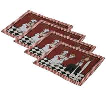 Fat Chef Placemats Woven Tapestry Place Mats - Set of 4 Decorative Chef Collection, Dining Room Kitchen Heat Insulation Stain-Resistant Placemats, 13x19 Inches