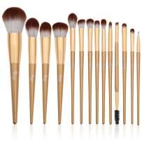 Qivange Makeup Brushes 14 PCS Concealer Powder Liquid Foundation Blush Brushes Premium Synthetic Eyebrow Travel Makeup Brush Set with Case for Blending Eye Shadow Full Face Make Up Gift