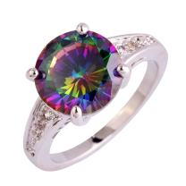 Narica Plated Silver Brilliant Elegant Round Cut Rainbow Topaz Cocktail Engagement Rings for Women Size 6