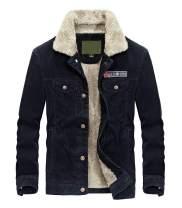 Lavnis Men's Corduroy Trucker Jacket Casual Stand Collar Button Down Fleece Denim Jacket