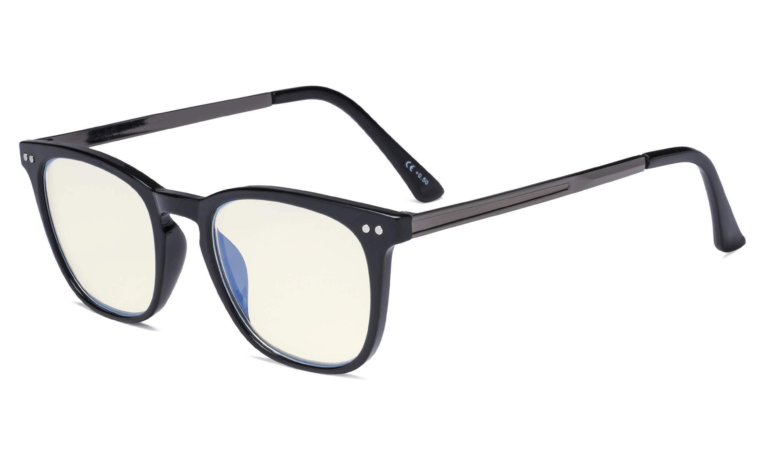 Eyekepper Blue Light Filter Glasses Men Women - Blocking UV Rays Anti Screen Glare Retro Computer Reading Glasses - Black Frame +2.75