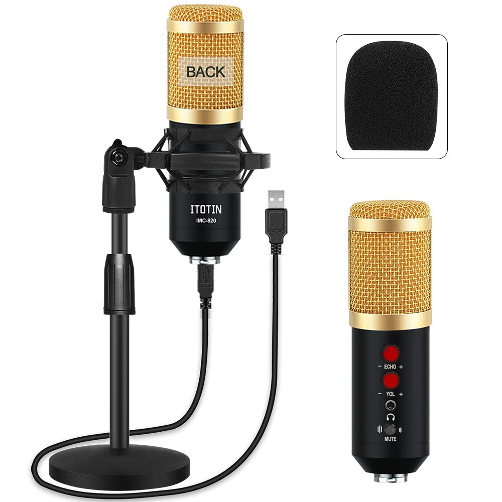 USB Microphone Kit 192KHZ/24BIT, Professional Studio Condenser Microphone Desktop Microphone Streaming Cardioid Mic Plug & Play for Computer, YouTube, Gaming Recording, Podcasting Broadcasting, Gold