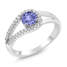 Gem Stone King Blue Tanzanite 925 Sterling Silver Women's Ring 0.81 Cttw Round Cut (Gemstone Birthstone))