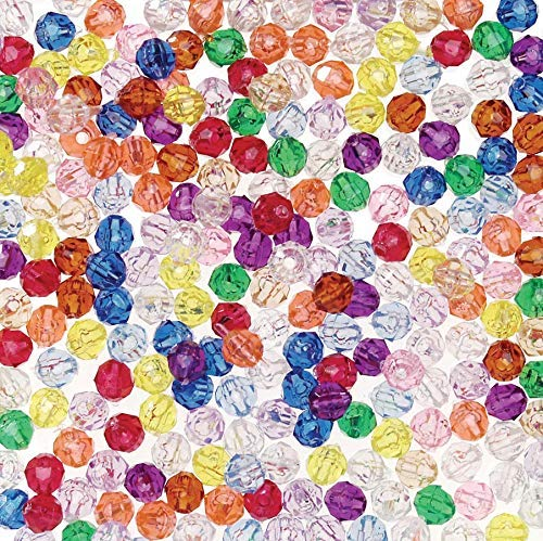 DARICE 0601-24 Bead Faceted Translucent Multi Color 6mm Big Value (1500 Pack), Multicolor