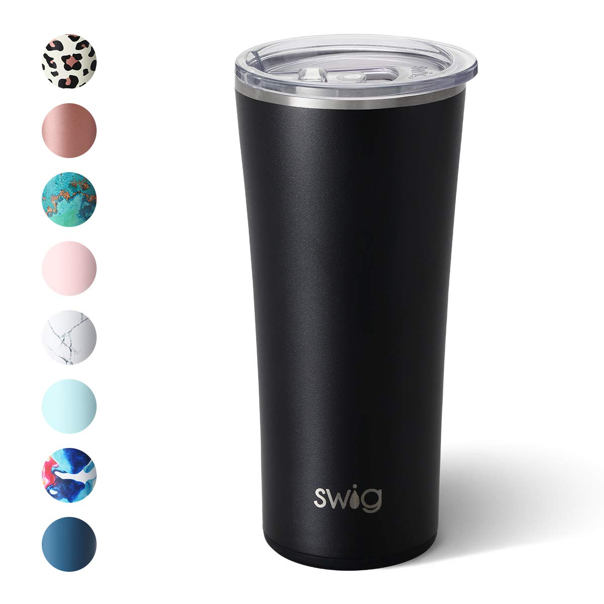 Swig Life 22oz Triple Insulated Stainless Steel Skinny Tumbler with Lid, Dishwasher Safe, Double Wall, and Vacuum Sealed Travel Coffee Tumbler in our Matte Black Pattern (Multiple Patterns Available)