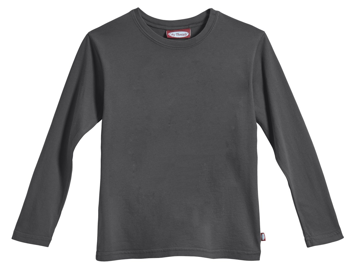 City Threads Big Boys' Cotton Long Sleeve Tee Base Layer for Fall Winter School or Play - Sensitive Skins or SPD Sensory Friendly Kids Clothing, Charcoal, 7