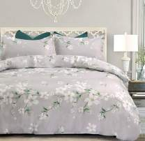 NANKO Gray Duvet Cover Set Queen - Floral Printed, 3 Piece - 1200 Thread Count Luxury Microfiber Down Quilt Bedding Cover with Zipper Ties for Women Rustic Farmhouse, Grey White Flower
