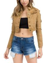Love Moda Women's Classic Basic Casual Destroyed Button Down Denim Cropped Jacket
