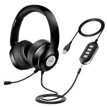 Vtin Headset with Microphone, USB Headset/ 3.5mm Computer Headphone Headset Noise Cancelling and Hands-Free with Mic, Stereo On-Ear Wired Business Headset for Skype, Call Center, PC, Phone, Mac