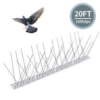 Topsome Bird Spikes for Pigeon Small Birds 20Feet/18 Strips, Bird Repellent Deterrent Spikes Stainless Steel Anti Bird Spikes, Covers