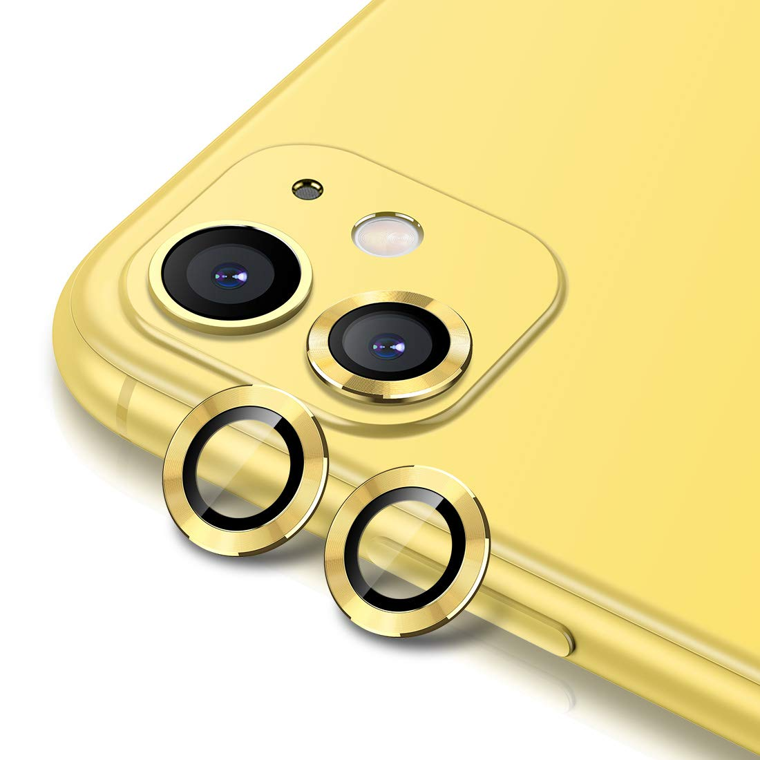 Buluby Camera Lens Protector for iPhone 11 (6.1 inch),Premium Tempered Glass Film Aluminum Alloy Lens Screen Cover Case Yellow