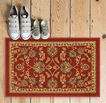 """Well Woven Non-Skid/Slip Rubber Back Antibacterial 18"""" x 31"""" Door Mat Rug Timeless Oriental Red Traditional Classic Sarouk Thin Low Pile Machine Washable Indoor Outdoor Kitchen Hallway Entry"""