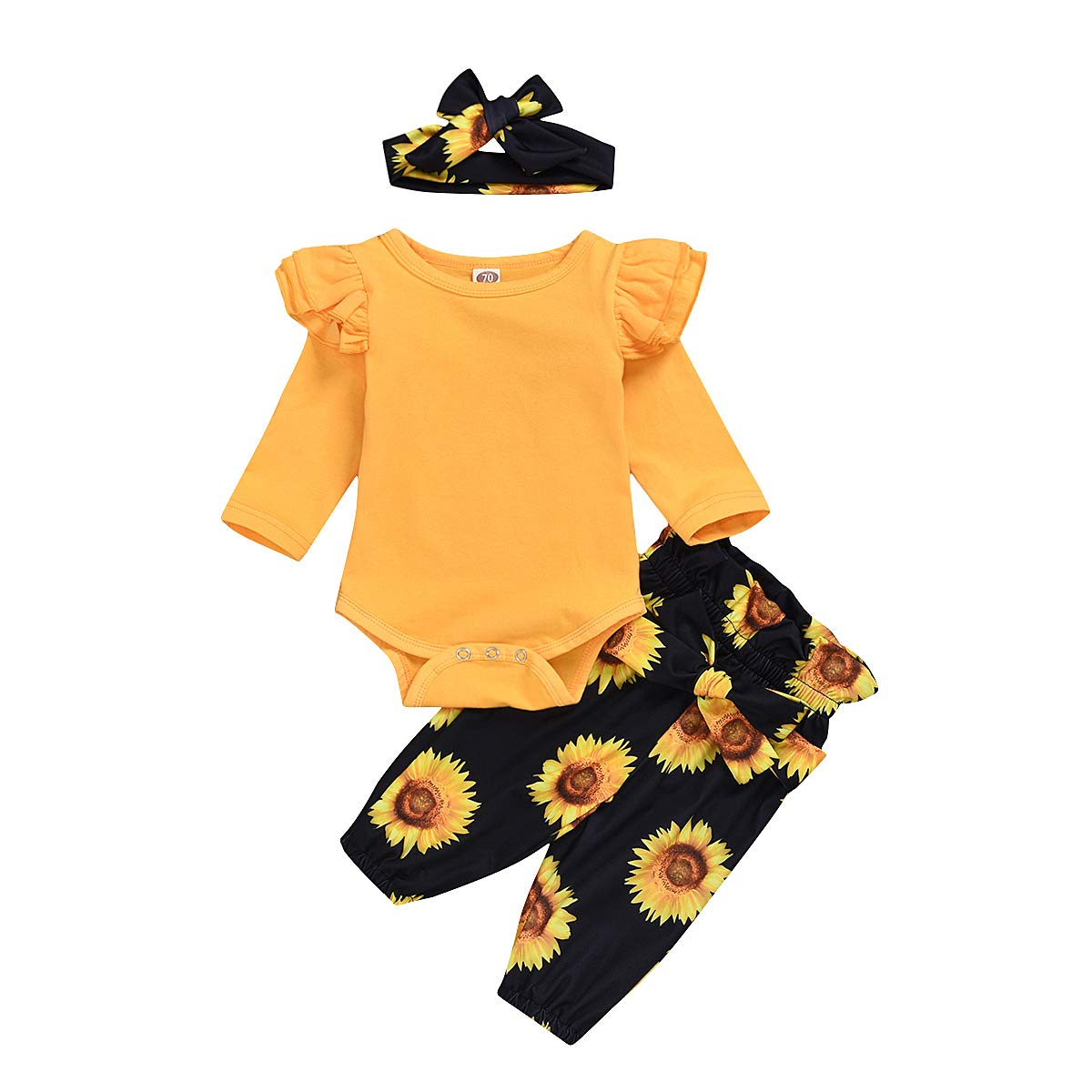 TUEMOS Newborn Baby Girl Pants Set Letter Print Romper Floral Pants with Headband 3PC Clothes
