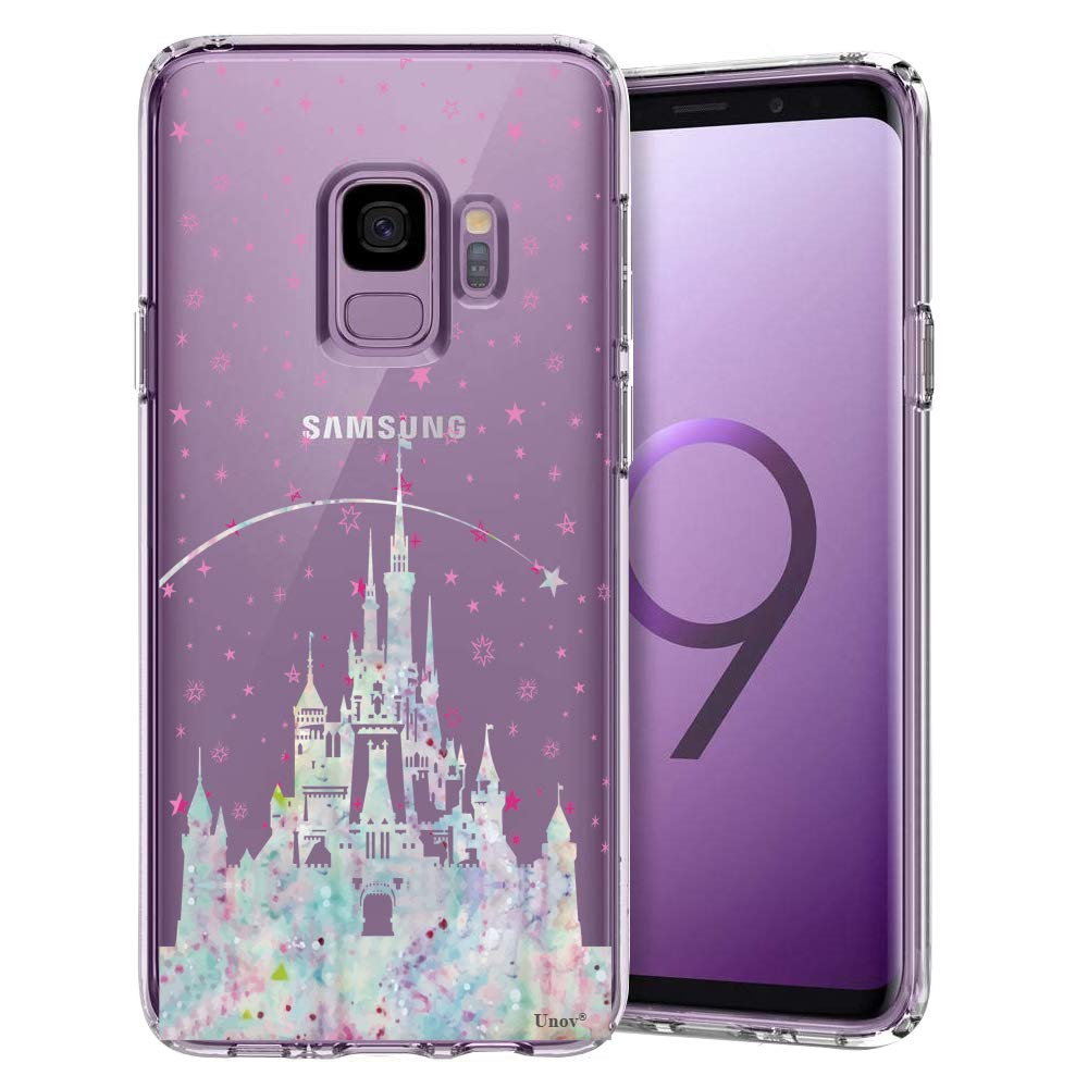 Unov Galaxy S9 Case Clear with Design Soft TPU Shock Absorption Slim Embossed Pattern Protective Back Cover for Galaxy S9 (Watercolor Castle)