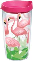 Tervis 1041059 Flamingos Tumbler with Wrap and Fuchsia Lid 16oz, Clear