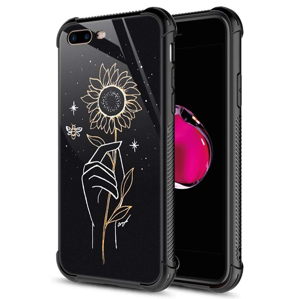 iPhone 8 Plus Case, 9H Tempered Glass Hand-Painted Sunflower iPhone 7 Plus Cases [Anti-Scratch] Fashion Cute Pattern Design Cover Case for iPhone 7/8 Plus 5.5-inch Hand-Painted Sunflower