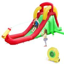 Costzon Inflatable Water Slide, Climb and Long Slide Bouncer w/ Water Cannon for Kids, Including Oxford Carry Bag, Repairing Kit, Stake, Hose (with 480W Air Blower)