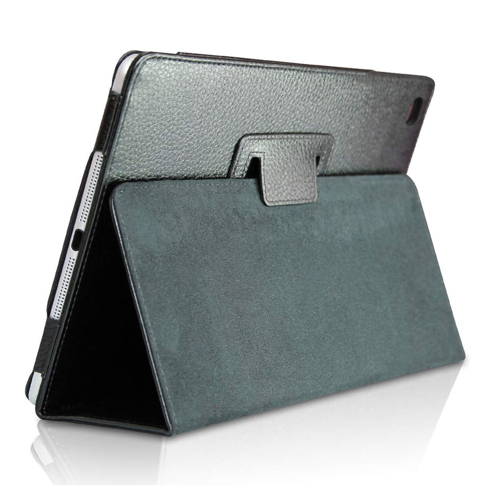 iPad Mini 1/2/3 Smart Case,FANSONG Bifold Series Litchi Stria Slim Thin Magnetic PU Leather Smart Cover [Flip Stand,Sleep Function] for Apple iPad Mini 1/2/3,Black