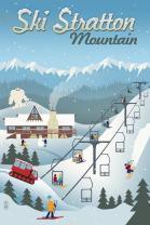 Stratton Mountain, Vermont - Retro Ski Resort 83451 (12x18 SIGNED Print Master Art Print - Wall Decor Poster)