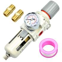 Tailonz Pneumatic 1/2 Inch NPT Air Filter Pressure Regulator Combo Piggyback, Air Tool Compressor Filter with Gauge AW4000-04