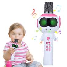 Microphone for Kids with LED Lights Variable, Mbuynow Wireless Microphone Bluetooth 5.0 with Speaker, Karaoke Machine for Kids, Support TF-Card up to 64G, Best Toys for Christmas Birthday Gifts (Pink)