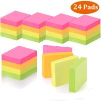 MAKHISTORY Small Sticky Notes 1.5 x 2 inch Self-Stick Notes, 24 Pads, 100 Sheets/Pad, Total 2400 Sheets, Bright Color Note Pads for Home Office School