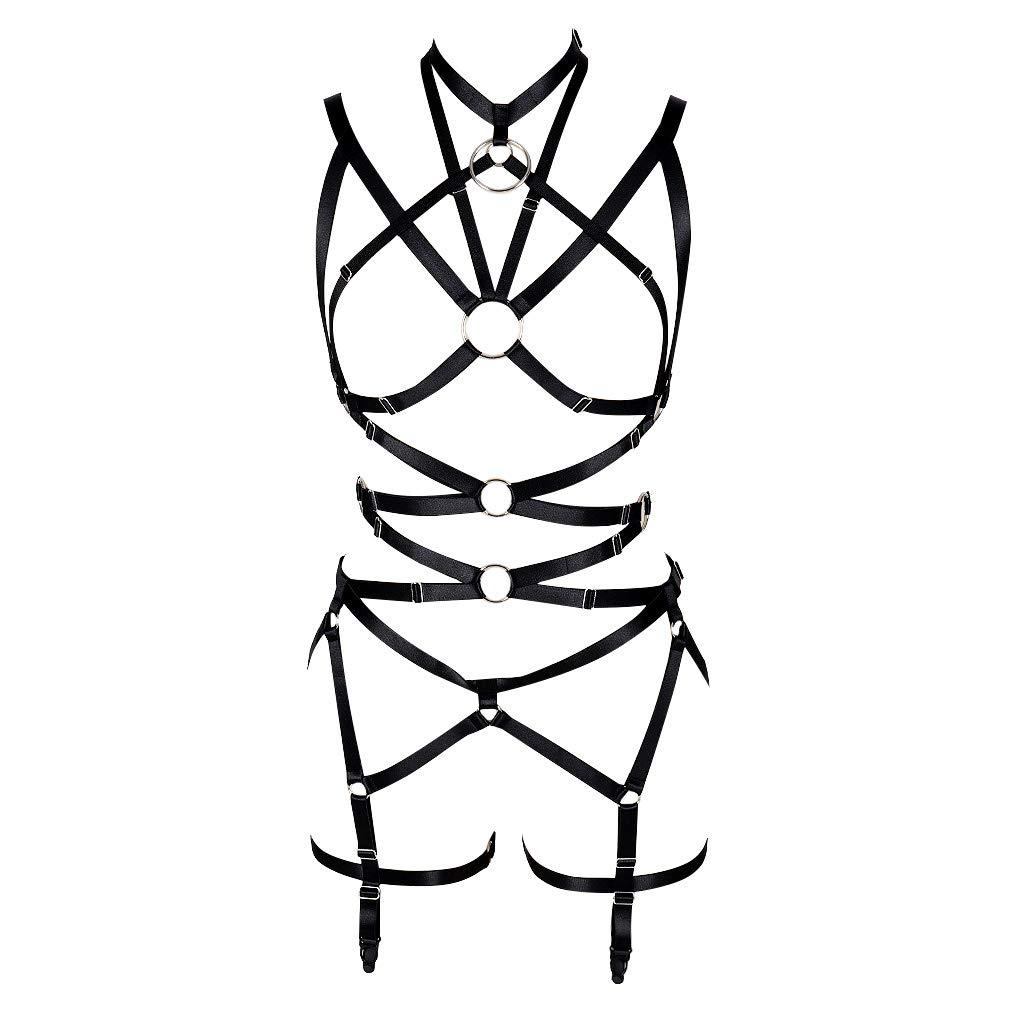 Women's Punk Harness Body Full Strappy Waist Belts EDC Dance Rave Wear