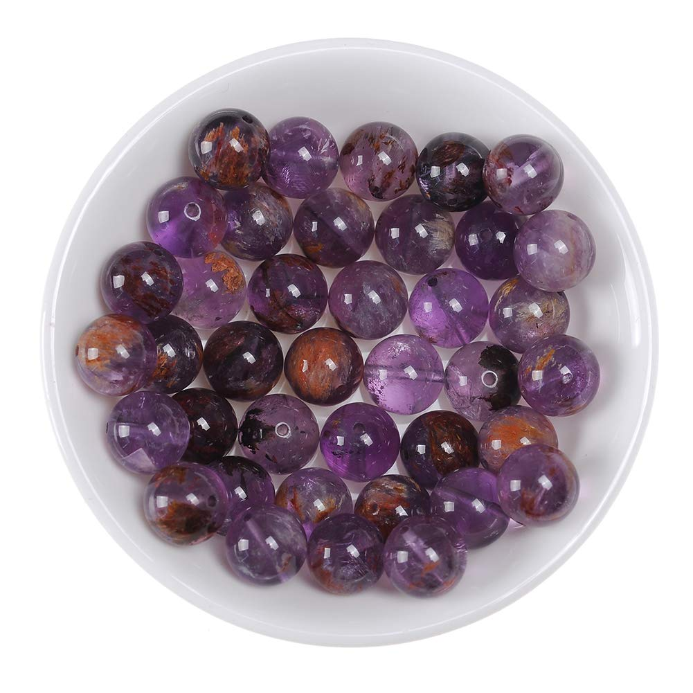"""Natural Stone Real 6mm Cacoxenite Crystal Gemstone Round Loose Beads Crystal Energy Stone Healing Power for Jewelry Making DIY,1 Strand 15"""""""