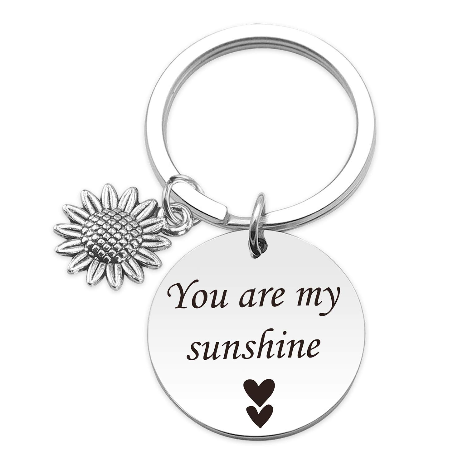 HN HNHB Sunshine Keychain Lover Inspirational You are My Sunshine Key Ring with Sunflower Charm Family Couple Friendship Gift