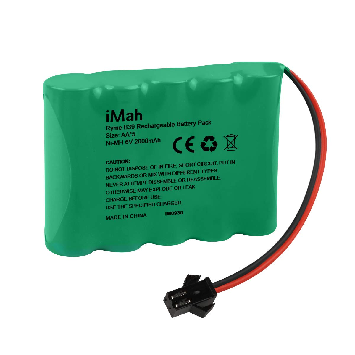 iMah 6V AA Battery Pack 2000mAh High Capacity Ni-MH Rechargeable with SM-2P Plug for 1/14 1/18 1/20 High Speed Radio Remote Control Car Off Road RC Truck Buggy