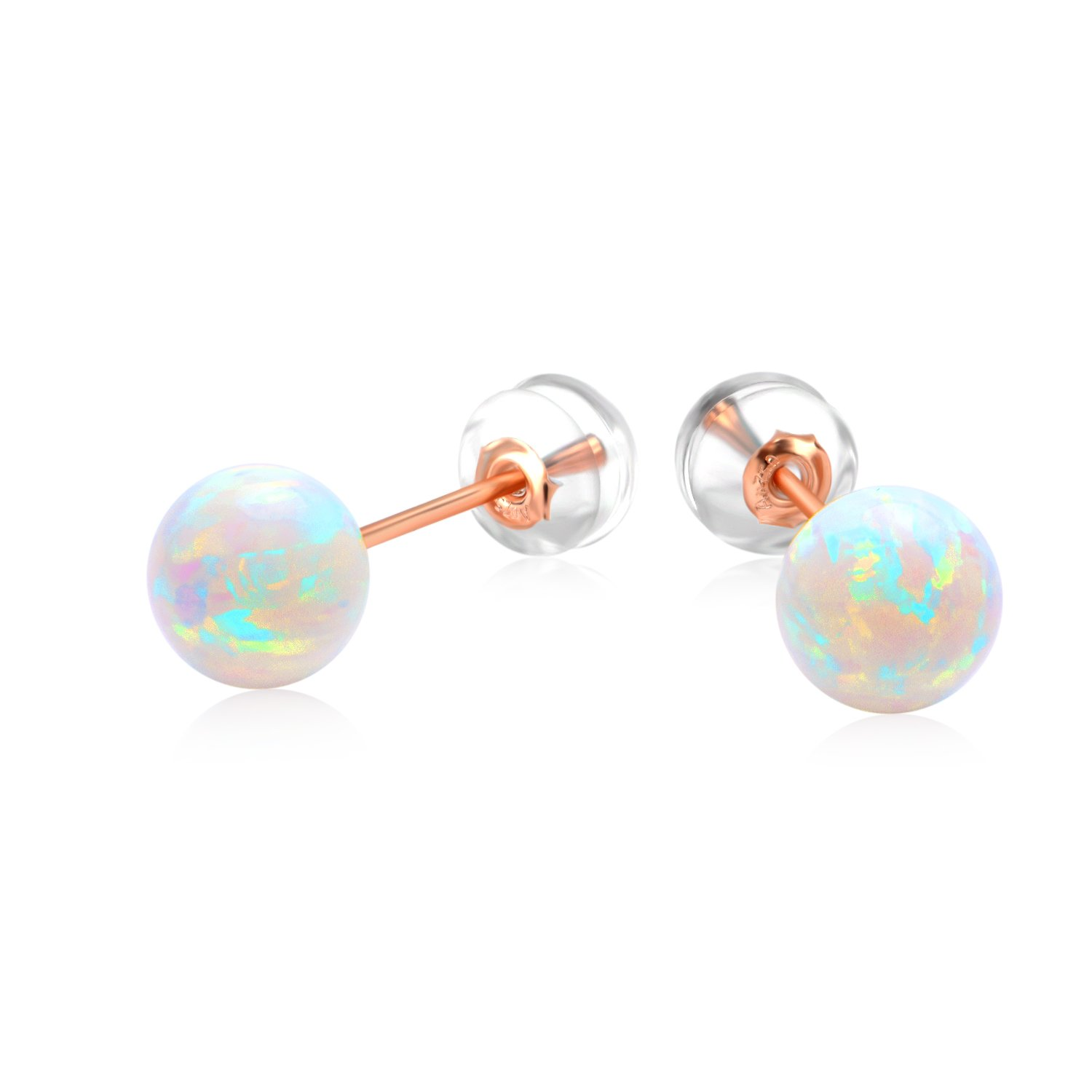18k Gold Simulated Opal Earrings, Cultured Freshwater Pearl Studs for Women Teens