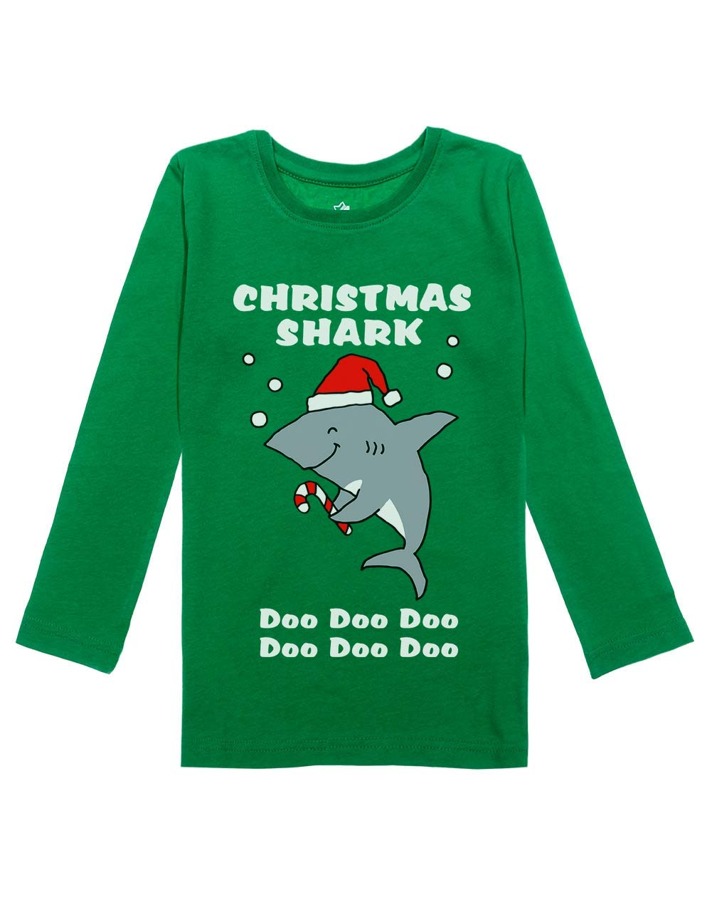 Christmas Shark Doo doo Ugly Sweather Girls Toddler Long Sleeve Fitted T-Shirt