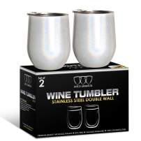 2 Pack Stainless Steel Wine Glass Tumbler with Lid, 12 oz Double Wall Vacuum Insulated Travel Tumbler Cup, Coffee Water Bottle Cup (Shimmer: Unicorn Magic)