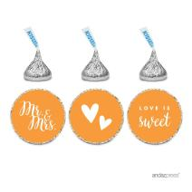 Andaz Press Chocolate Drop Labels Trio, Fits Hershey's Kisses, Wedding Mr. & Mrs, Orange, 216-Pack, for Bridal Shower, Engagement Party Favors, Gifts, Bags, Stationery, Envelopes, Decor, Decorations