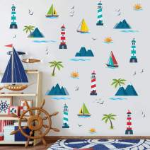 IARTTOP Hawaii Tropical Ocean Beach Wall Decals,Watercolor Summer Scenery Palm Tree Mountain Sailboat Tower Sun Wall Sticker for Window Clings Living Room Bedroom Decor