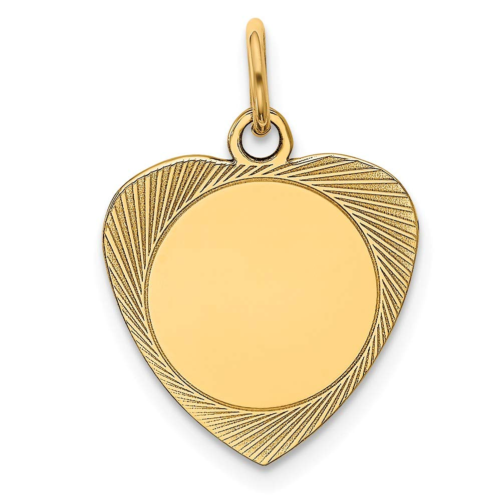 14k Yellow Gold Etched .013 Gauge Engravable Heart Disc Pendant Charm Necklace Fine Jewelry For Women Gifts For Her