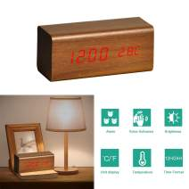 perfeo Wood Alarm Clock, Digital Alarm Led Clock for Bedrooms with 3 Alarms Setting, Dual Power, Dual Time (12/24) Mode, Voice Control, Adjustable Brightness