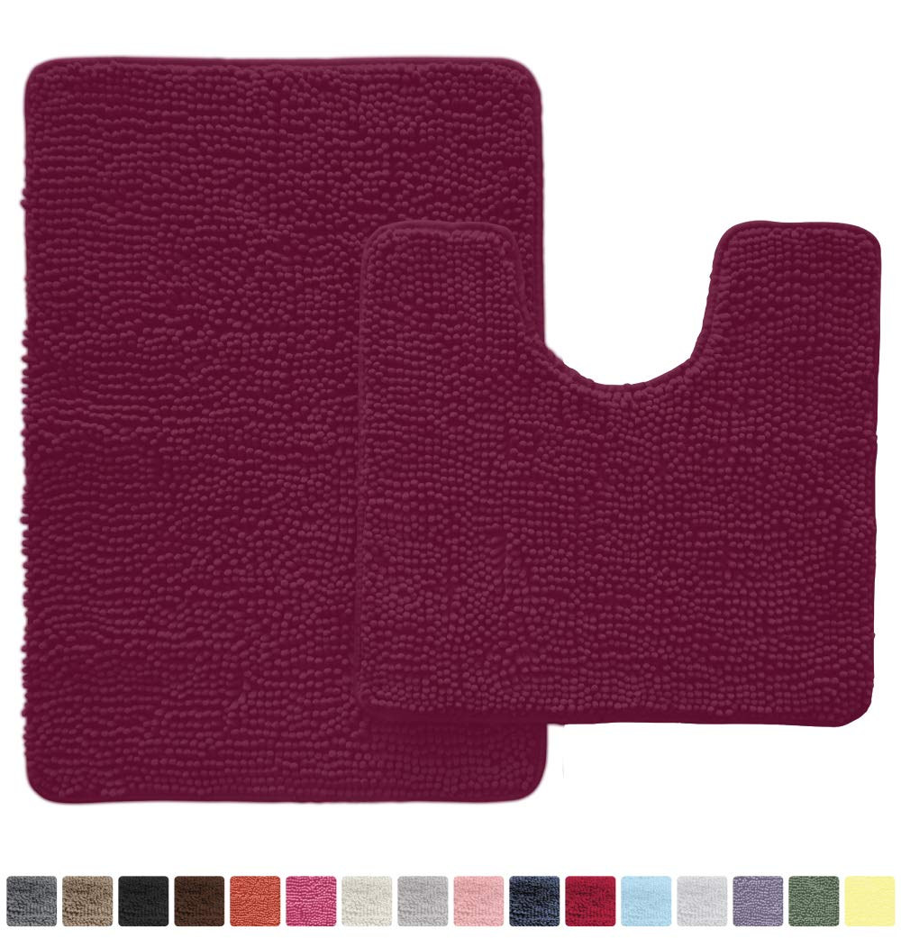 Gorilla Grip Original Shaggy Chenille 2 Piece Area Rug Set Includes Oval U-Shape Contour Mat for Toilet and 30x20 Bathroom Rugs, Machine Wash Dry, Plush Mats for Tub, Shower and Bathroom, Eggplant