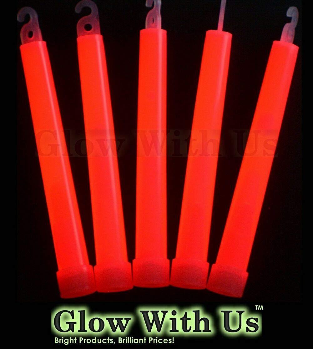 "Glow Sticks Bulk Wholesale, 25 6"" Industrial Grade Red Light Sticks. Bright Color, Glow 12-14 Hrs, Safety Glow Stick with 3-Year Shelf Life, GlowWithUs Brand"